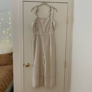 NWT Lucca tan and cream striped jumpsuit